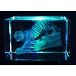 3D Kristall, Motiv schleichender Tiger